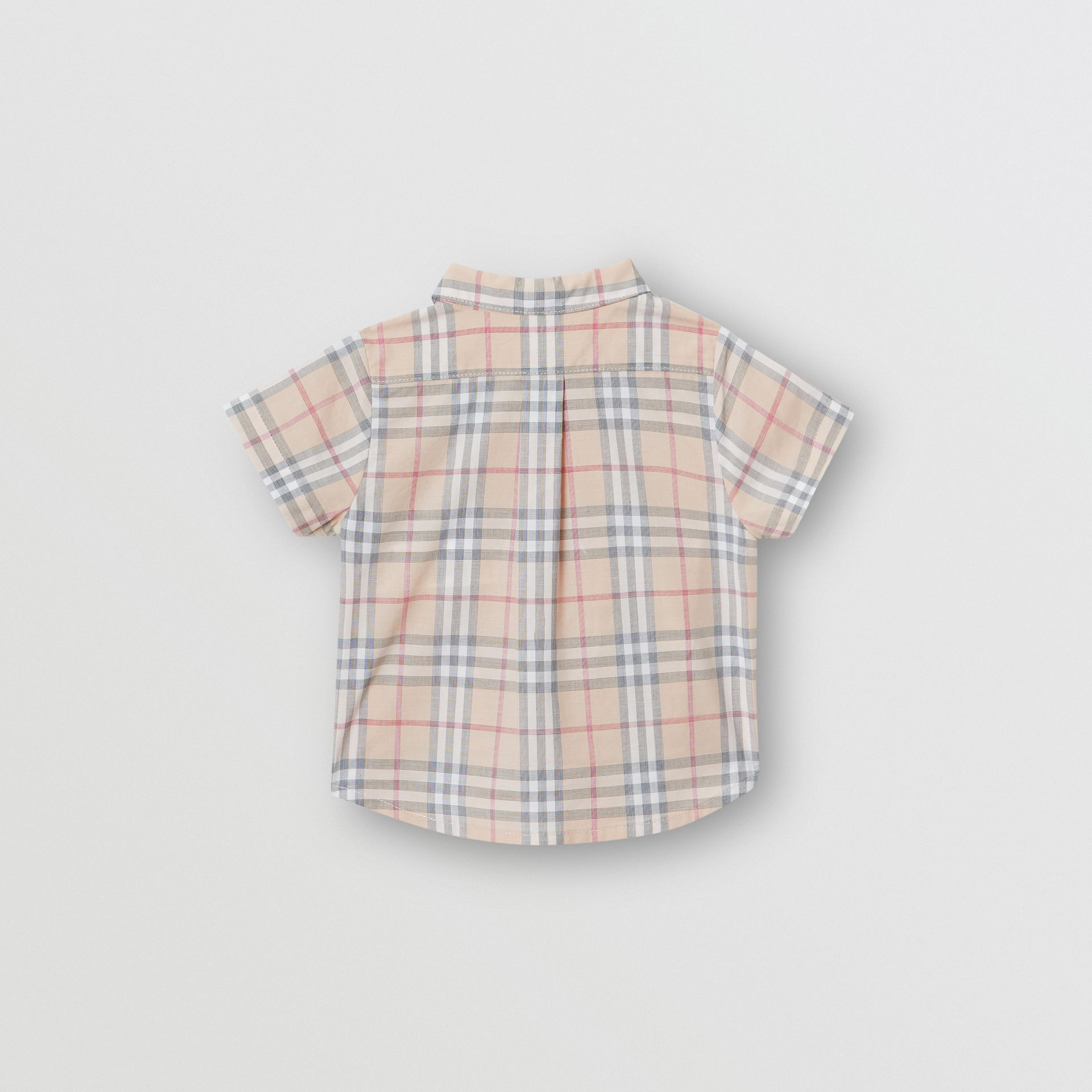Button-down Collar Short-sleeve Check Cotton Shirt in Pale Stone - Children | Burberry Canada - gallery image 3