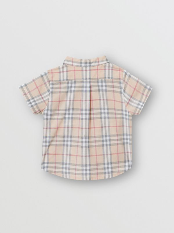 Button-down Collar Short-sleeve Check Cotton Shirt in Pale Stone - Children | Burberry Hong Kong S.A.R - cell image 3