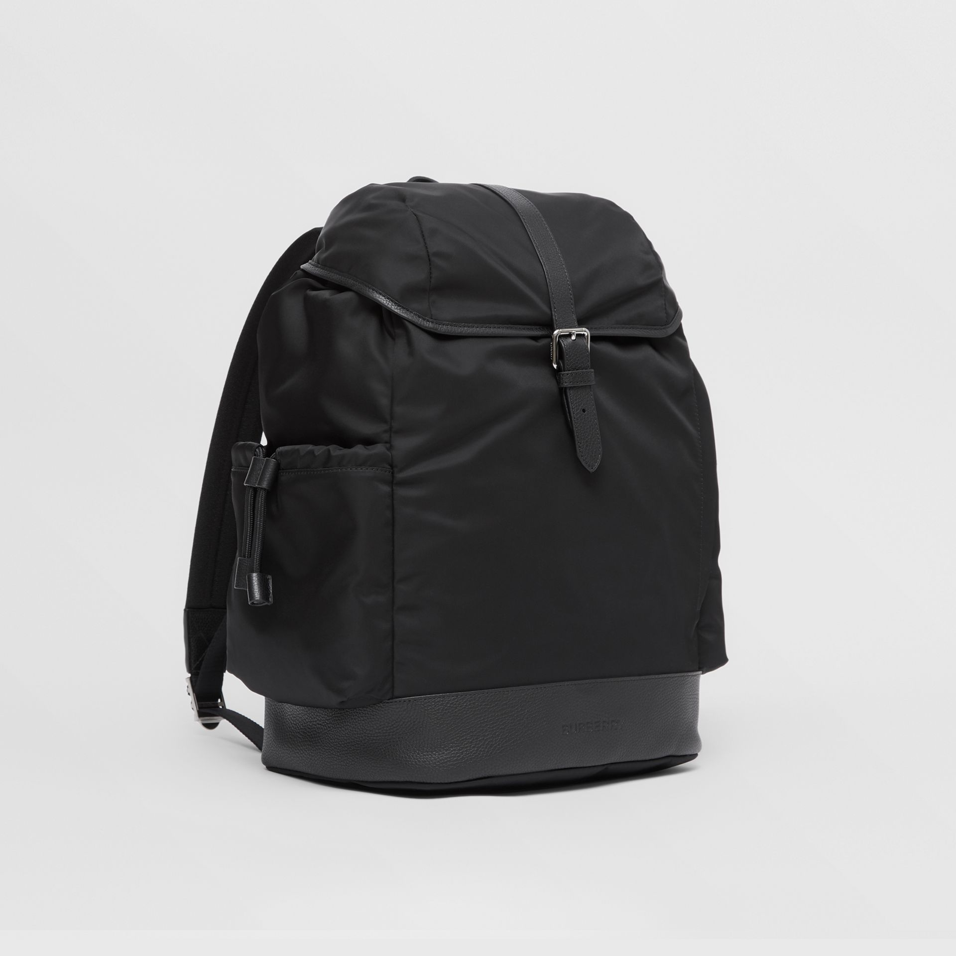 Leather Trim ECONYL® Baby Changing Backpack in Black - Children | Burberry - gallery image 4