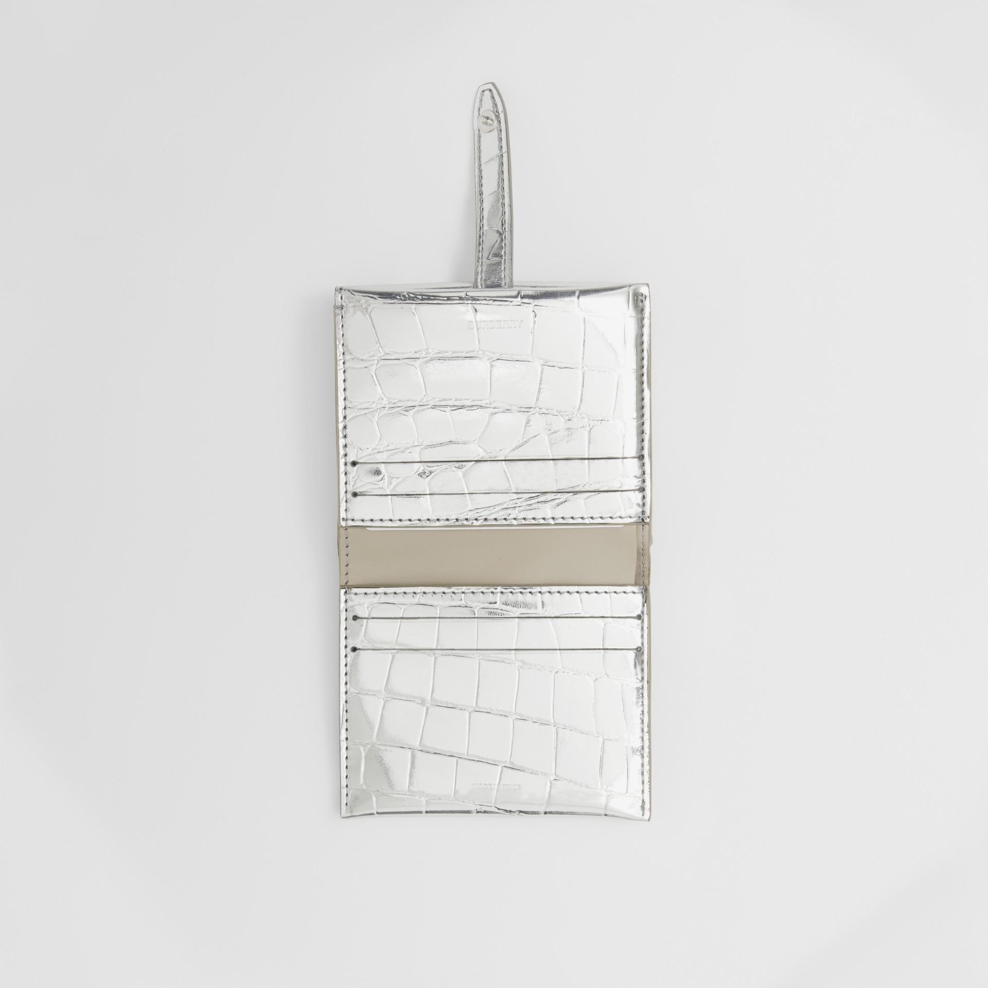 Metallic Embossed Folding Wallet in Silver - Women   Burberry - gallery image 2