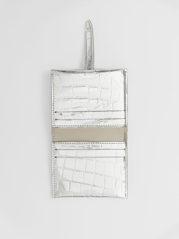 Metallic Embossed Folding Wallet in Silver - Women | Burberry United Kingdom - cell image 2
