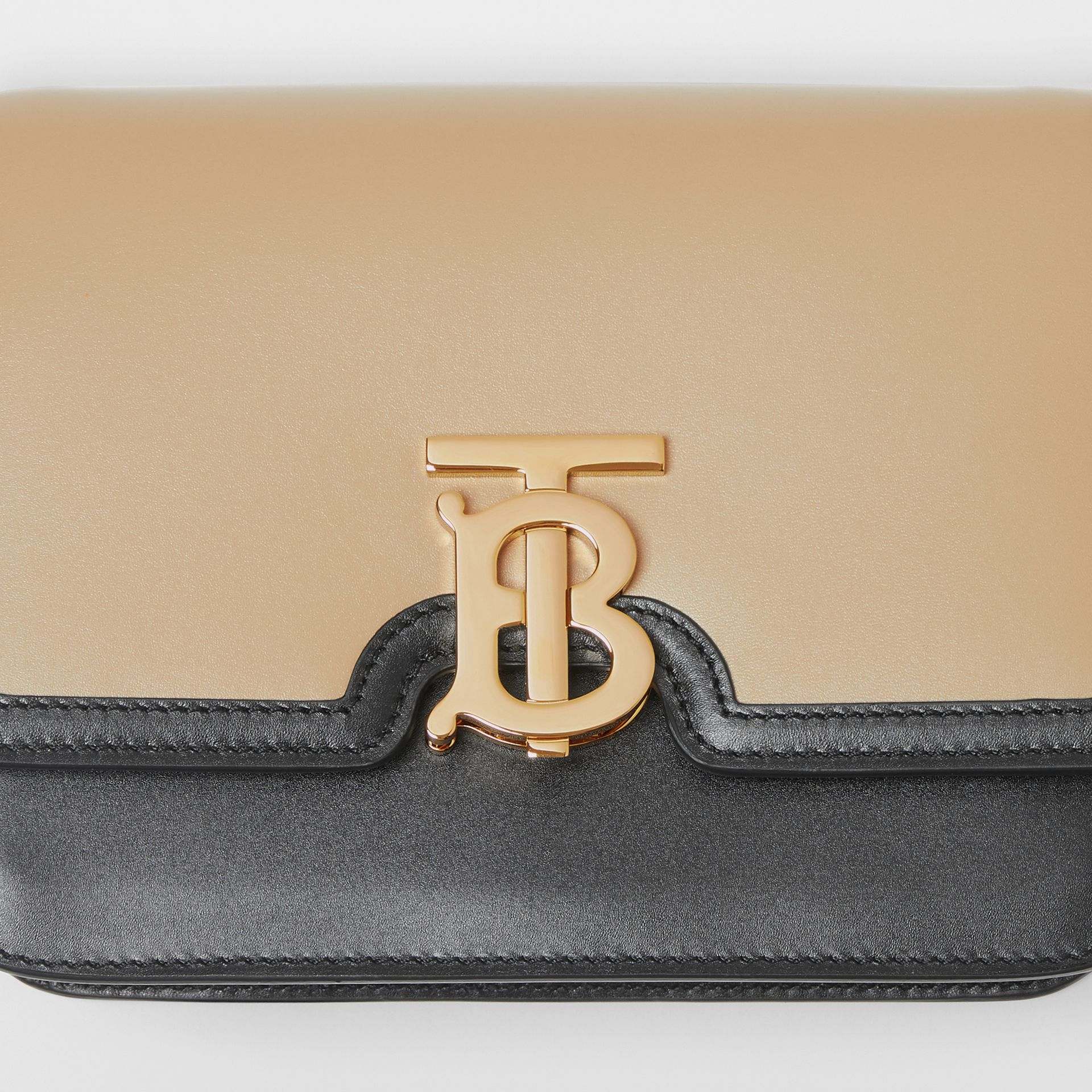 Small Two-tone Leather TB Bag in Honey/black - Women | Burberry - gallery image 1
