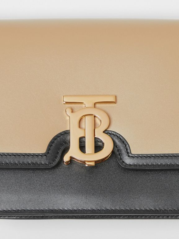 Small Two-tone Leather TB Bag in Honey/black - Women | Burberry - cell image 1