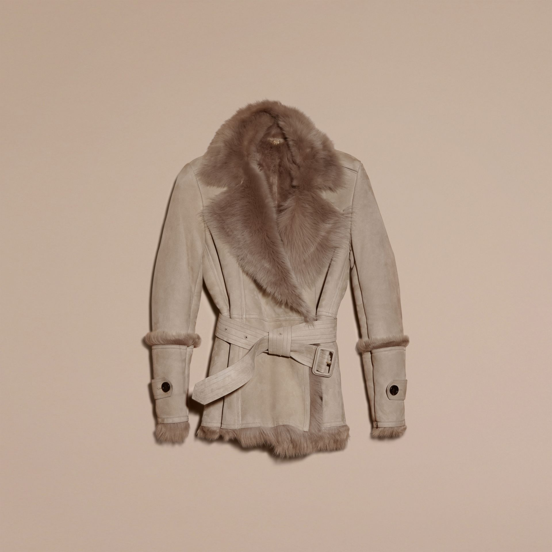 Pale grey Shearling Wrap Jacket - gallery image 4