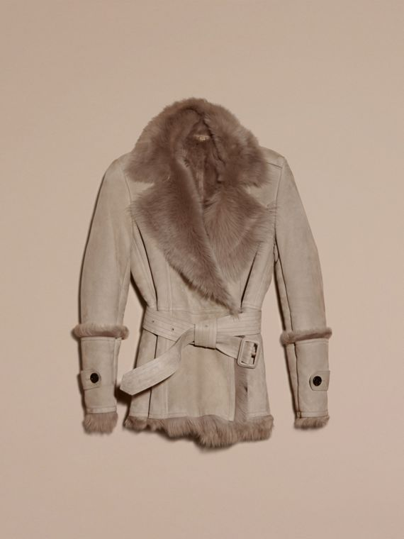 Pale grey Shearling Wrap Jacket - cell image 3