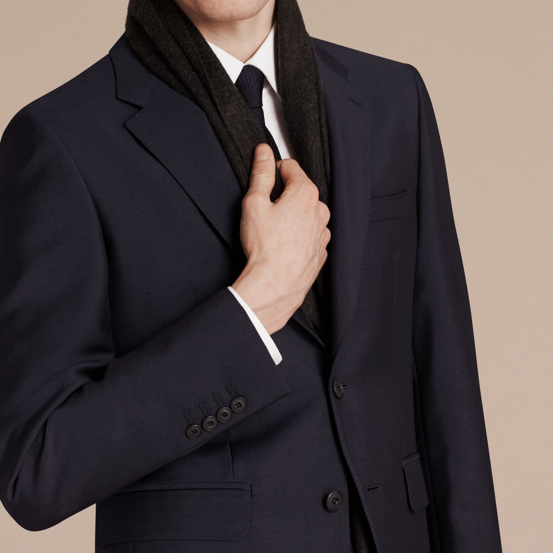 Modern Fit Wool Mohair Part-canvas Suit True Navy - gallery image 2