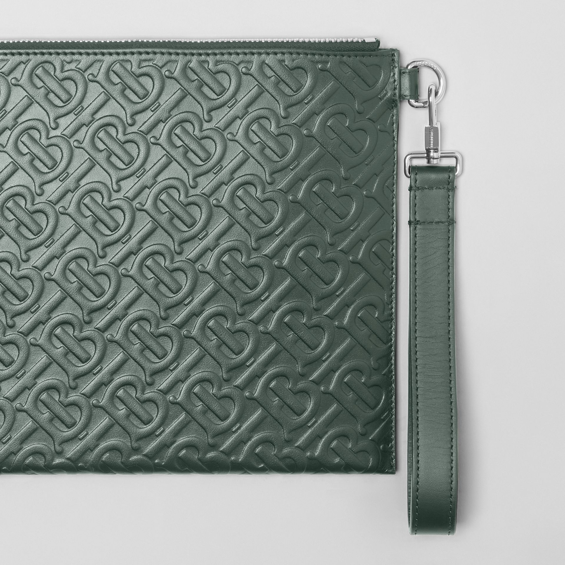 Monogram Leather Zip Pouch in Dark Pine Green - Men | Burberry Hong Kong S.A.R - gallery image 1