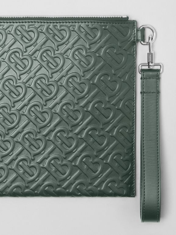 Monogram Leather Zip Pouch in Dark Pine Green - Men | Burberry Hong Kong S.A.R - cell image 1