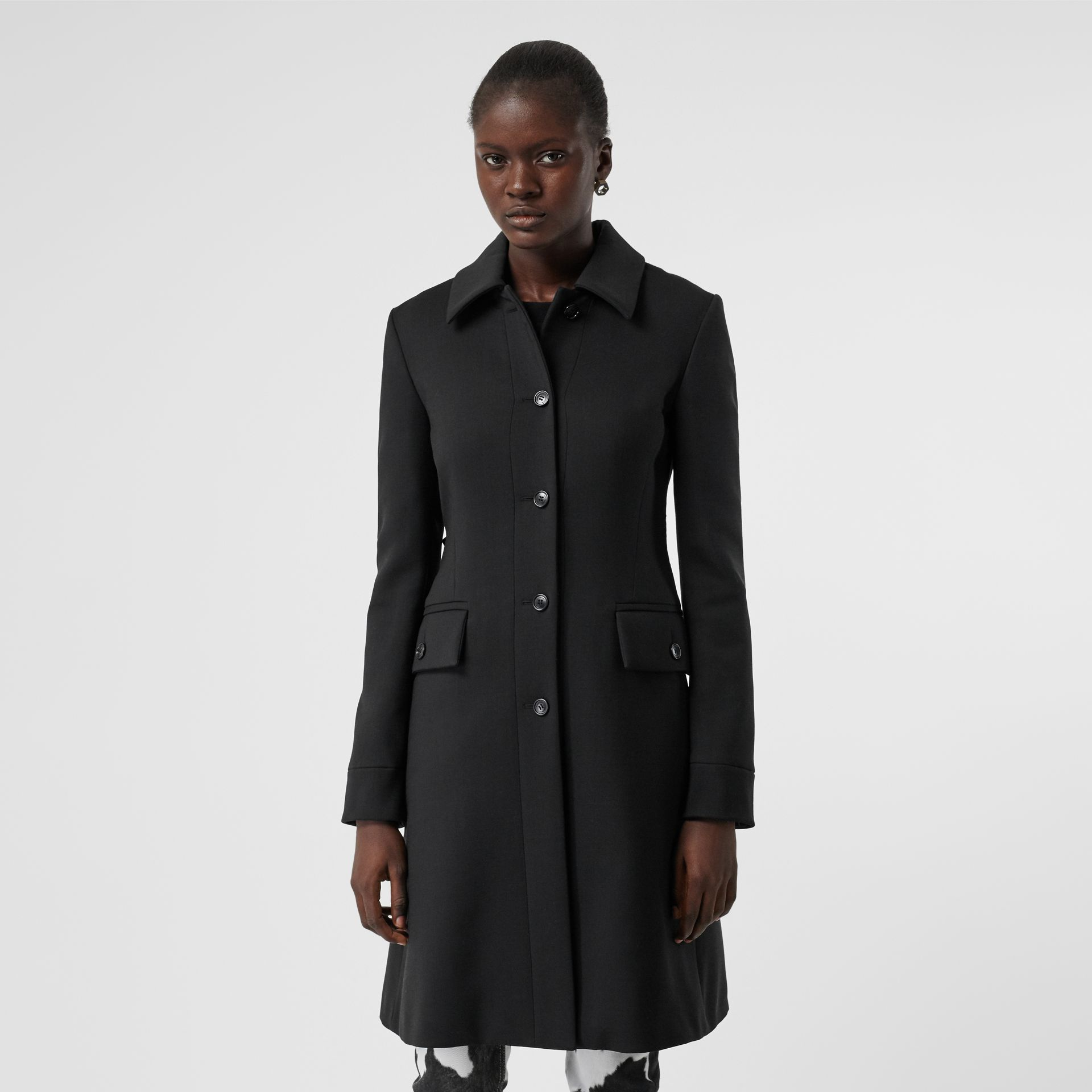 Wool Silk Tailored Coat in Black - Women | Burberry Singapore - gallery image 6