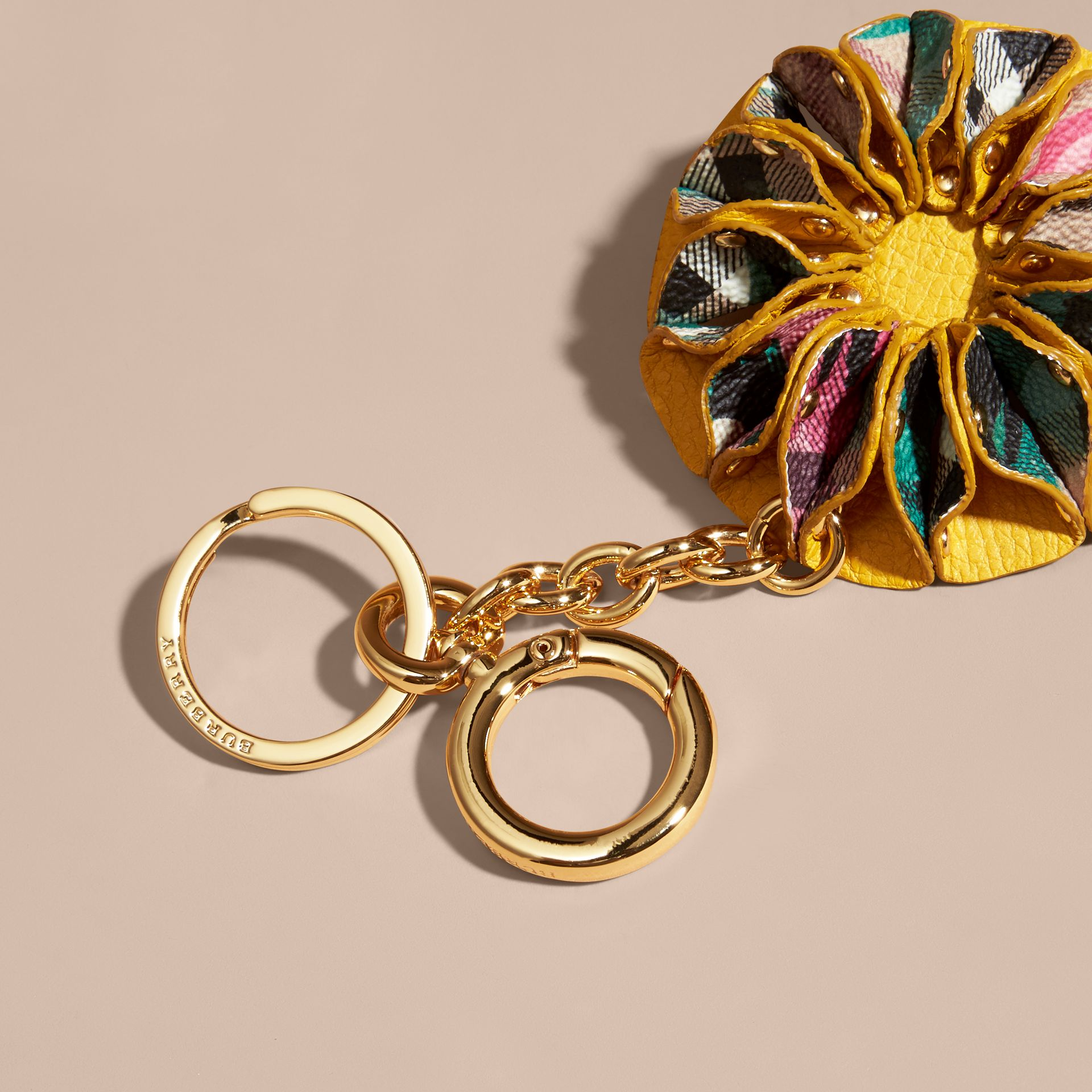 Floral Print Haymarket Check Concertina Key Charm in Larch Yellow - gallery image 2