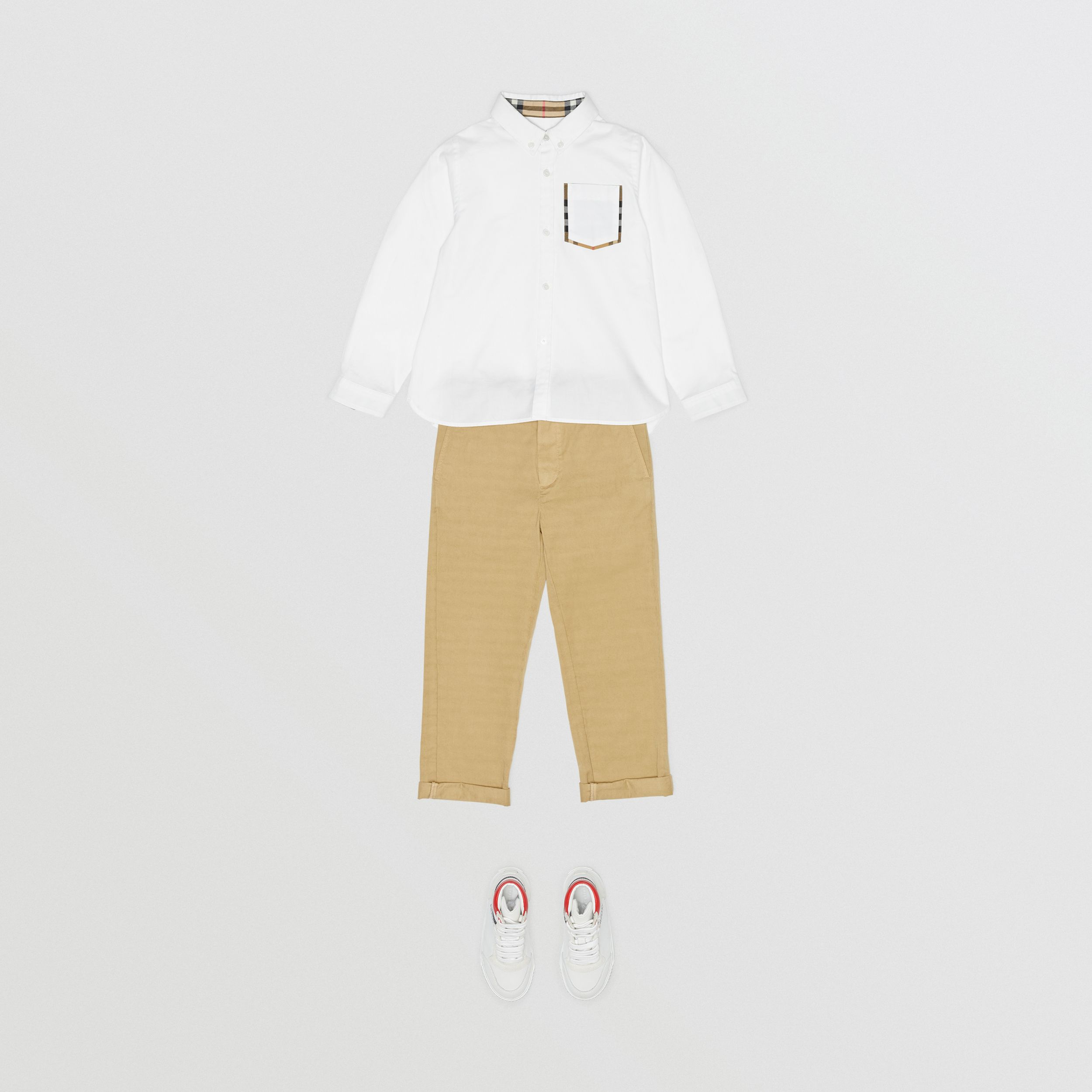 Check Detail Cotton Oxford Shirt in White - Boy | Burberry - 3
