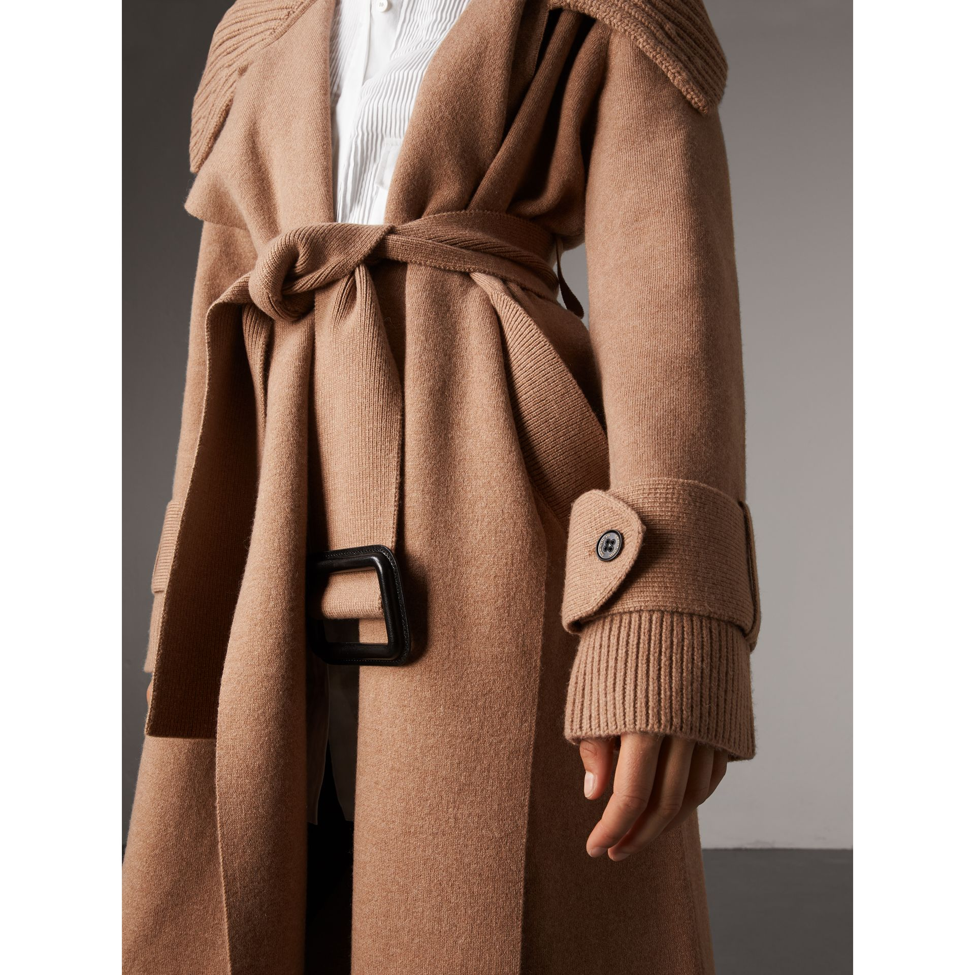 Knitted Wool Cashmere Wrap Coat in Camel - Women | Burberry - gallery image 2