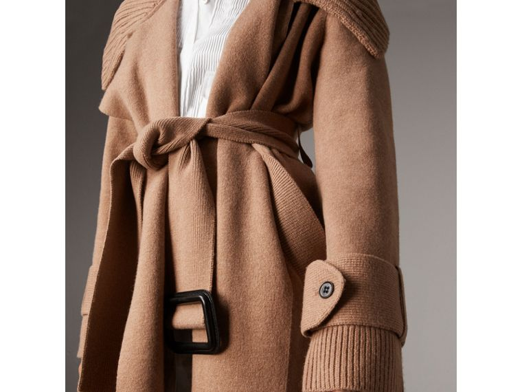 Knitted Wool Cashmere Wrap Coat in Camel - Women | Burberry Australia - cell image 1