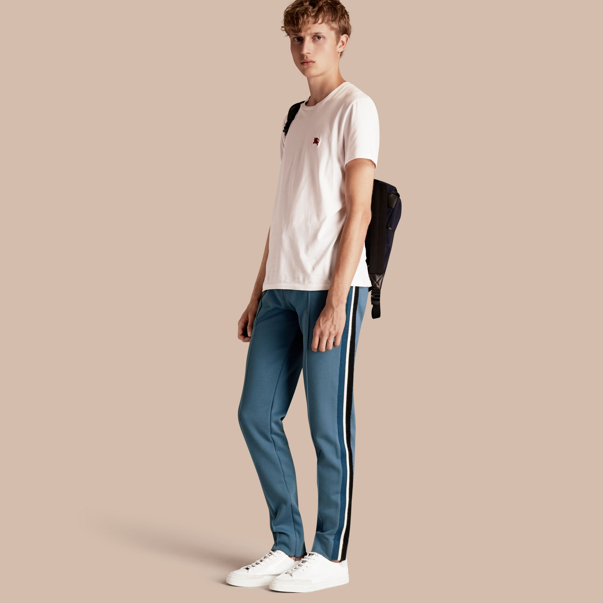 Sports-striped Cotton Blend Sweat Pants Mineral Blue - gallery image 1