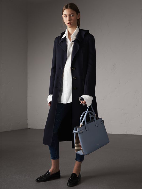 The Medium Banner in Leather and House Check in Slate Blue - Women | Burberry - cell image 2