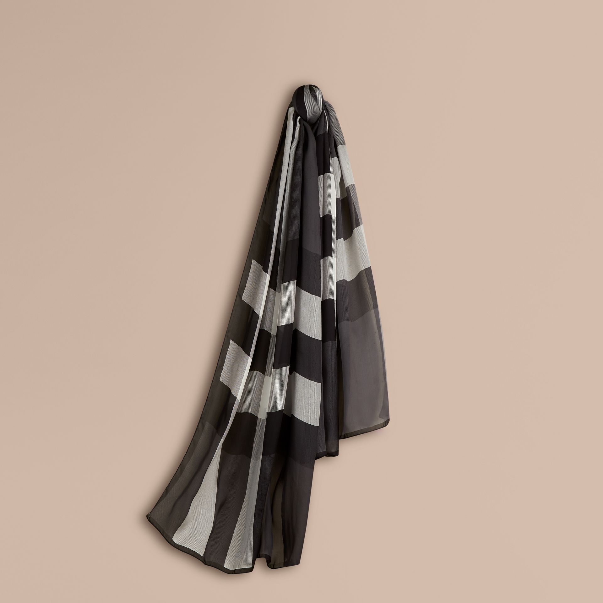 Lightweight Check Silk Scarf in Mid Grey - gallery image 1