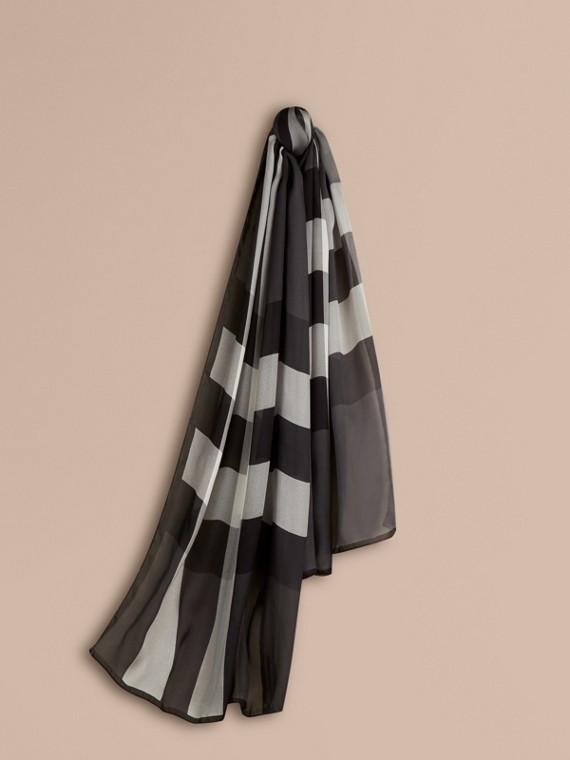 Lightweight Check Silk Scarf Mid Grey