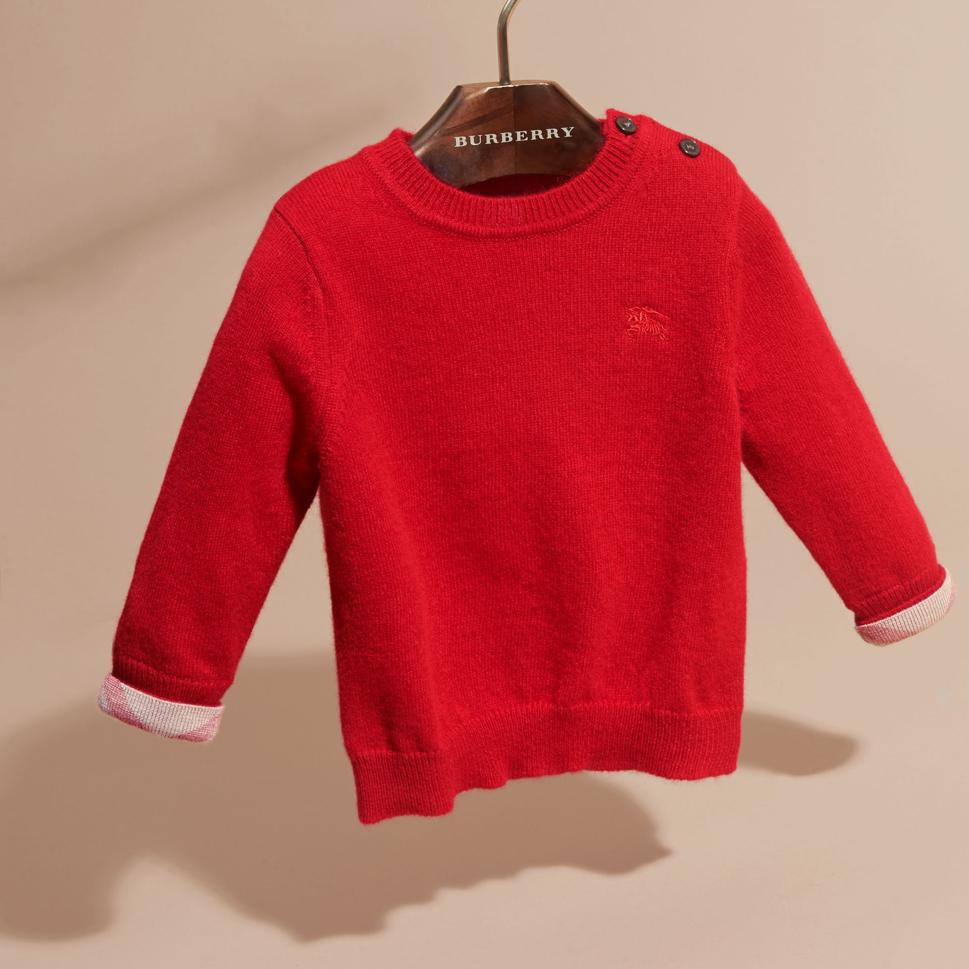 Check Detail Cashmere Sweater in Parade Red | Burberry Canada - gallery image 3
