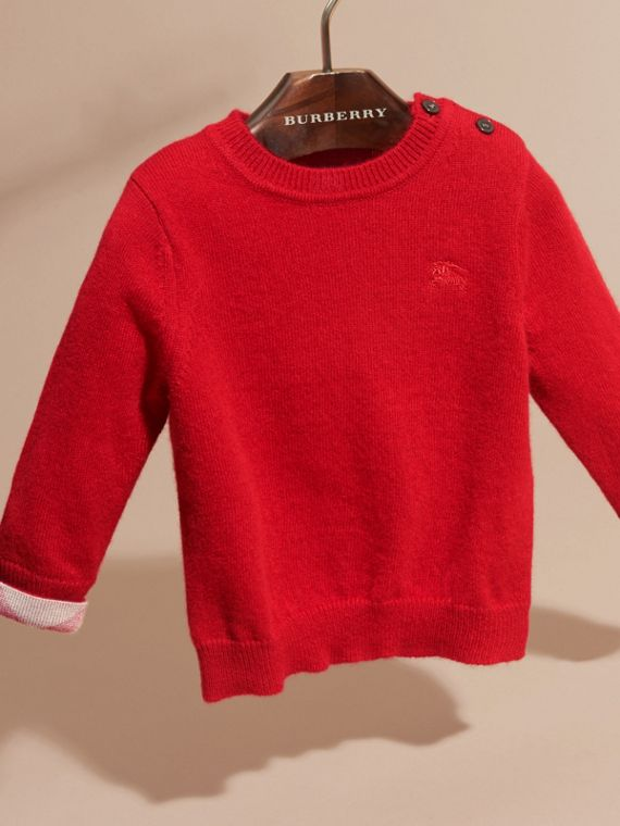 Check Detail Cashmere Sweater in Parade Red | Burberry Canada - cell image 2