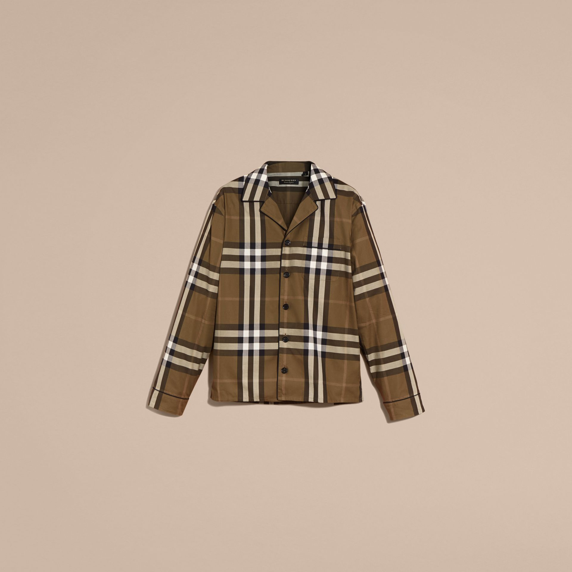 Dark olive Check Cotton Pyjama-style Shirt Dark Olive - gallery image 4