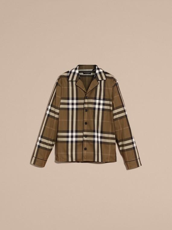 Olive sombre Chemise de style pyjama en coton à motif check Olive Sombre - cell image 3