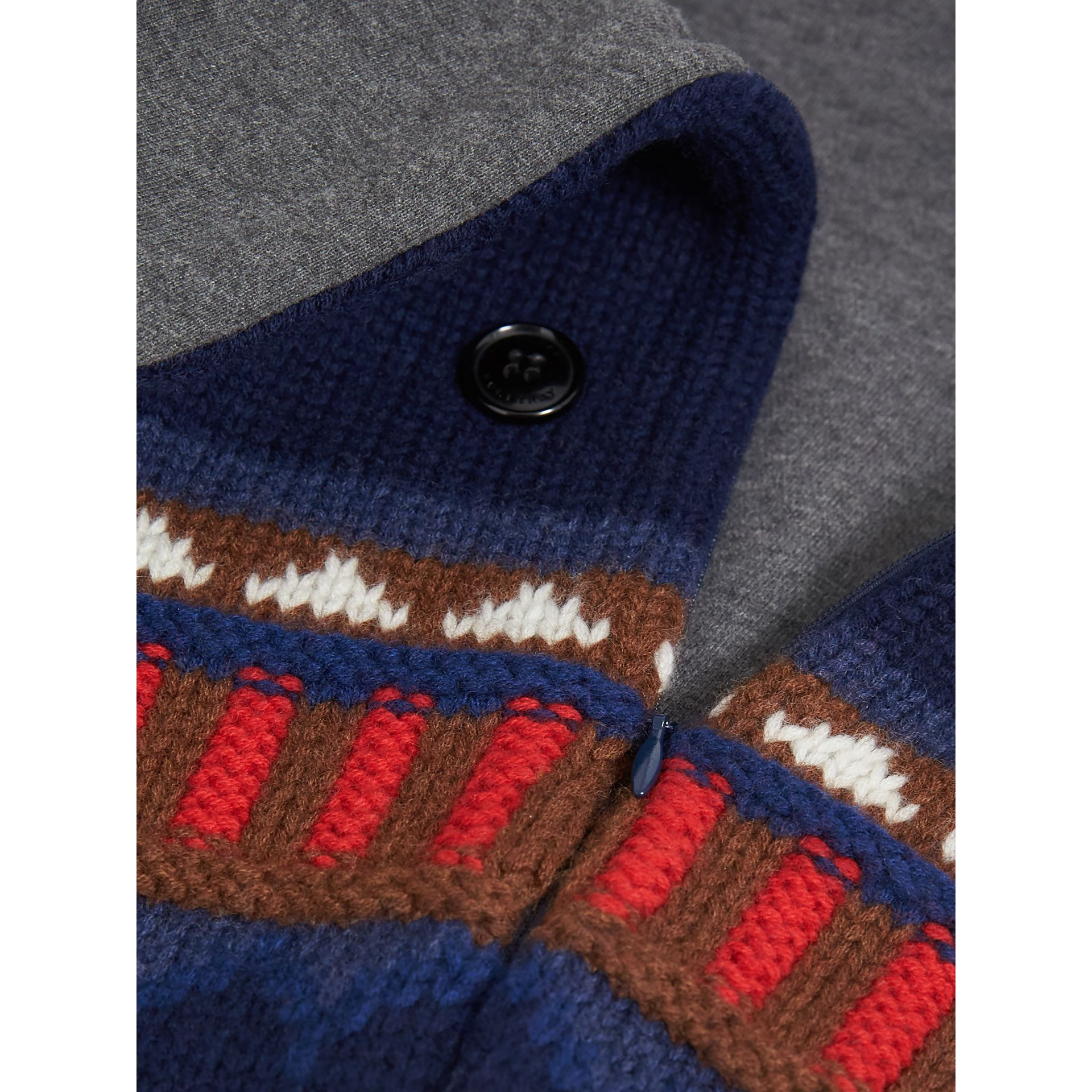 Pom-pom Fair Isle Wool Cashmere Baby Nest in Bright Navy | Burberry - gallery image 1