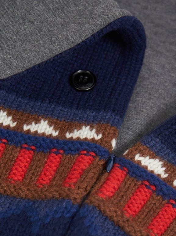 Pom-pom Fair Isle Wool Cashmere Baby Nest in Bright Navy | Burberry - cell image 1