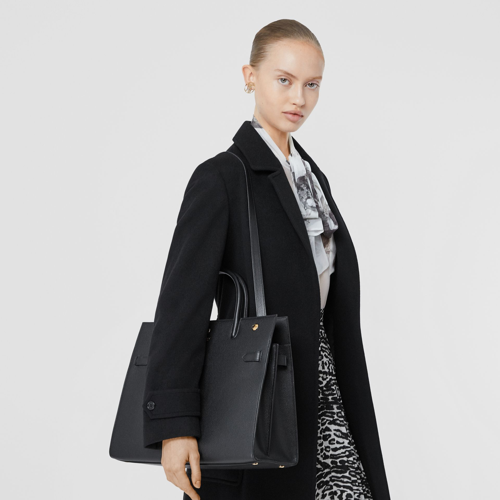 Medium Leather Two-handle Title Bag in Black - Women | Burberry - gallery image 2