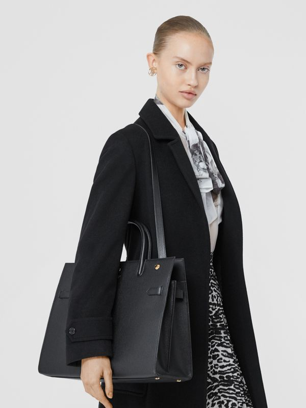 Medium Leather Two-handle Title Bag in Black - Women | Burberry - cell image 2