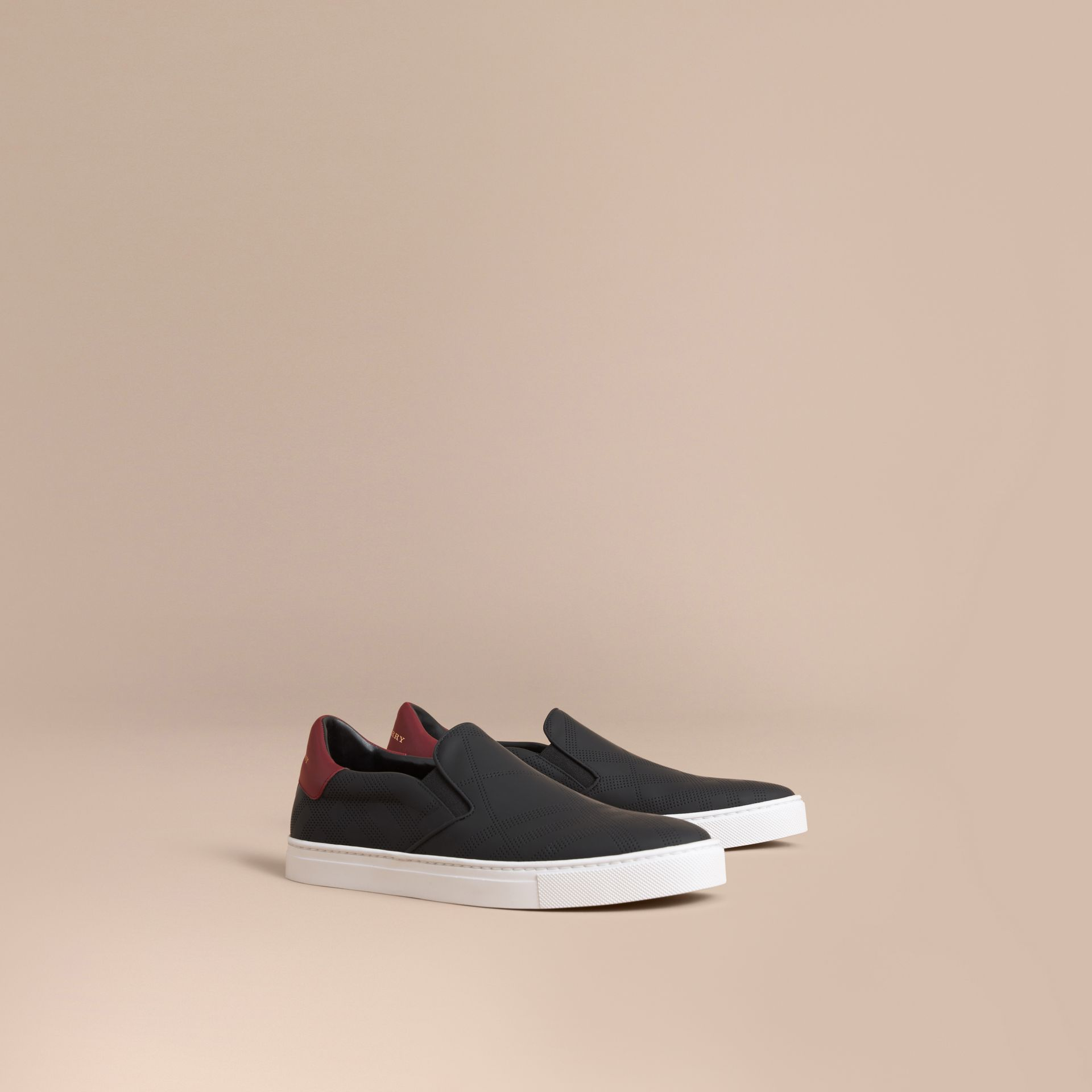 Perforated Check Leather Slip-on Trainers in Black/deep Claret Melange - Men | Burberry - gallery image 1