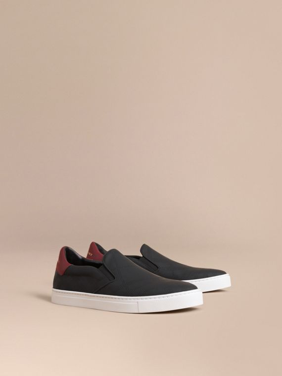 Perforated Check Leather Slip-on Trainers in Black/deep Claret Melange - Men | Burberry