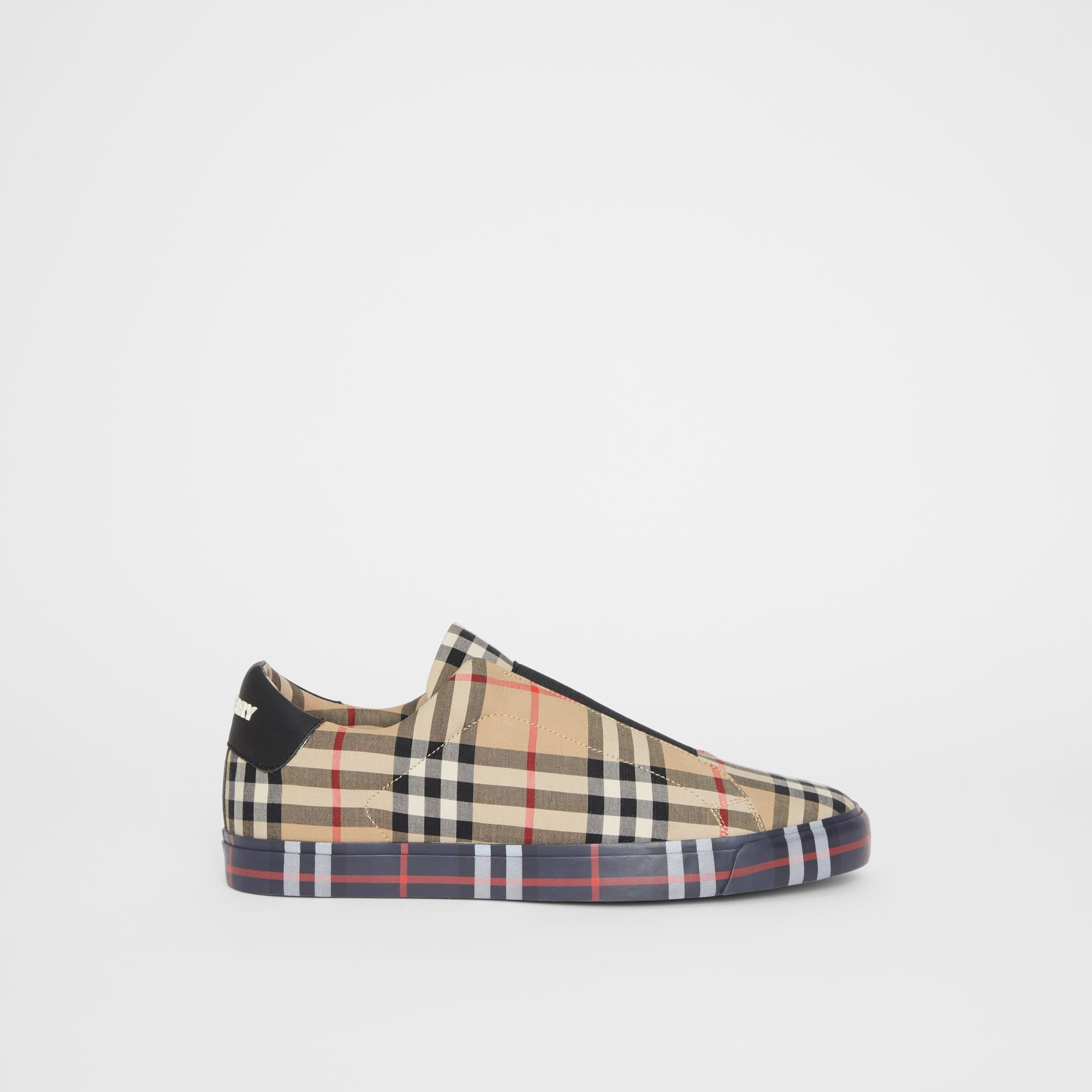 Contrast Check and Leather Slip-on Sneakers in Archive Beige - Men | Burberry United Kingdom - gallery image 4