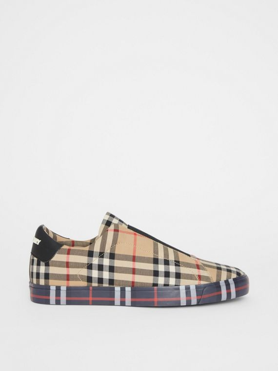 d58f52a5863983 Contrast Check and Leather Slip-on Sneakers in Archive Beige