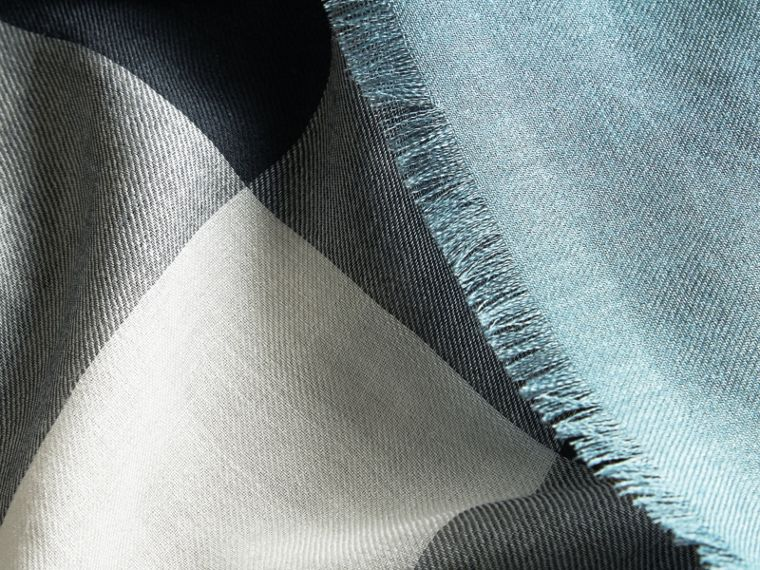 Lightweight Check Silk Modal Wool Square - Large Airforce Blue - cell image 1