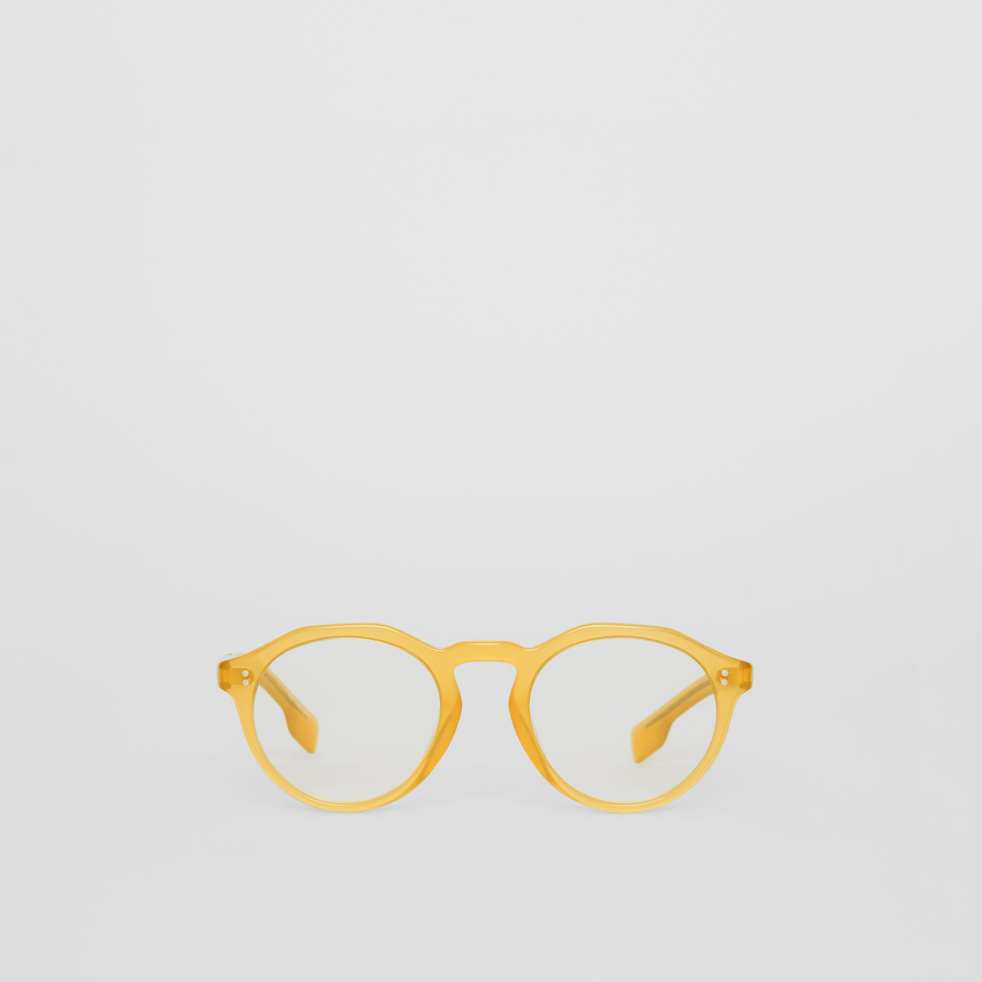 Keyhole Round Optical Frames in Ochre Yellow - Men | Burberry - gallery image 0