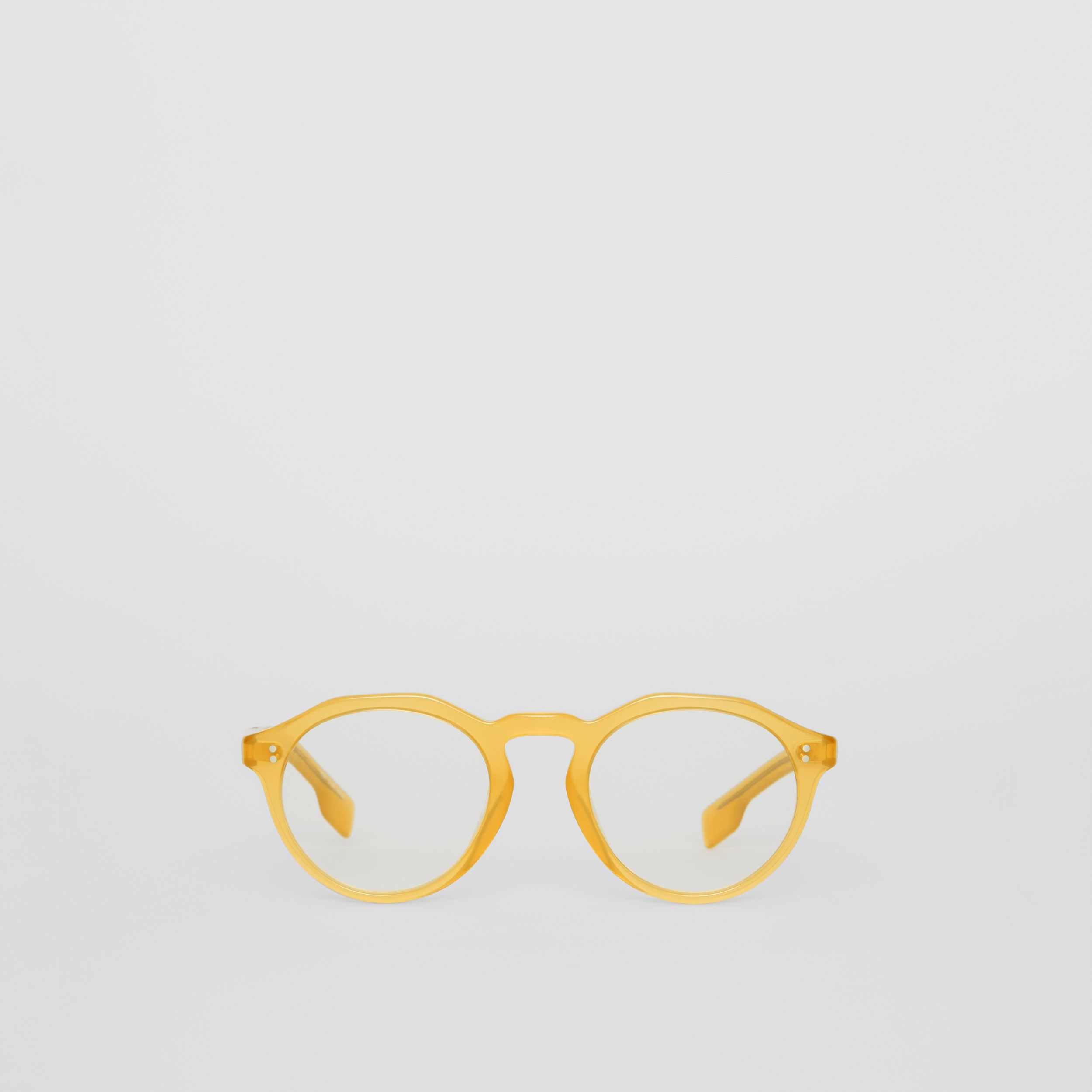 Keyhole Round Optical Frames in Ochre Yellow - Men | Burberry - 1