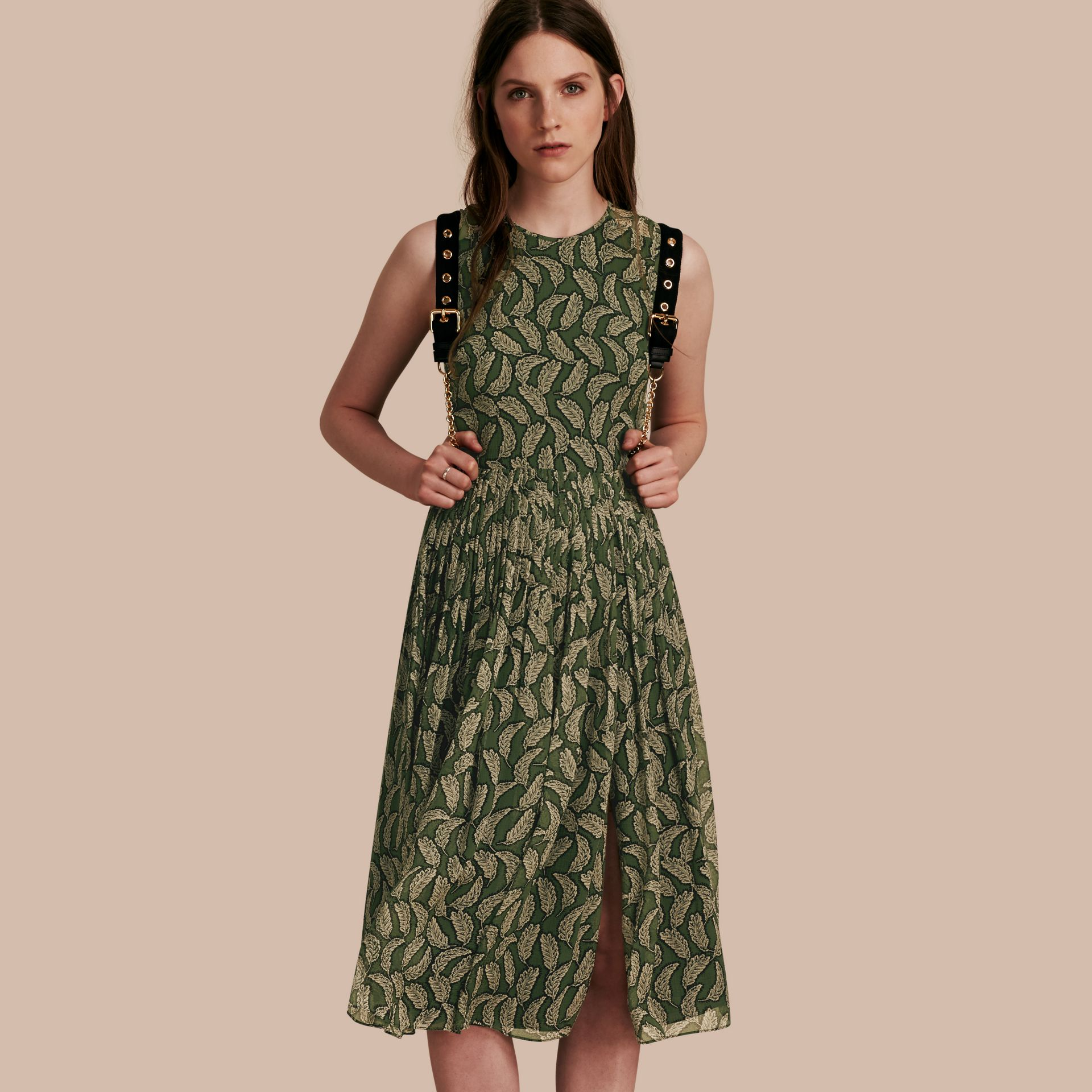 Dusty green Leaf Print Silk Midi Dress - gallery image 1