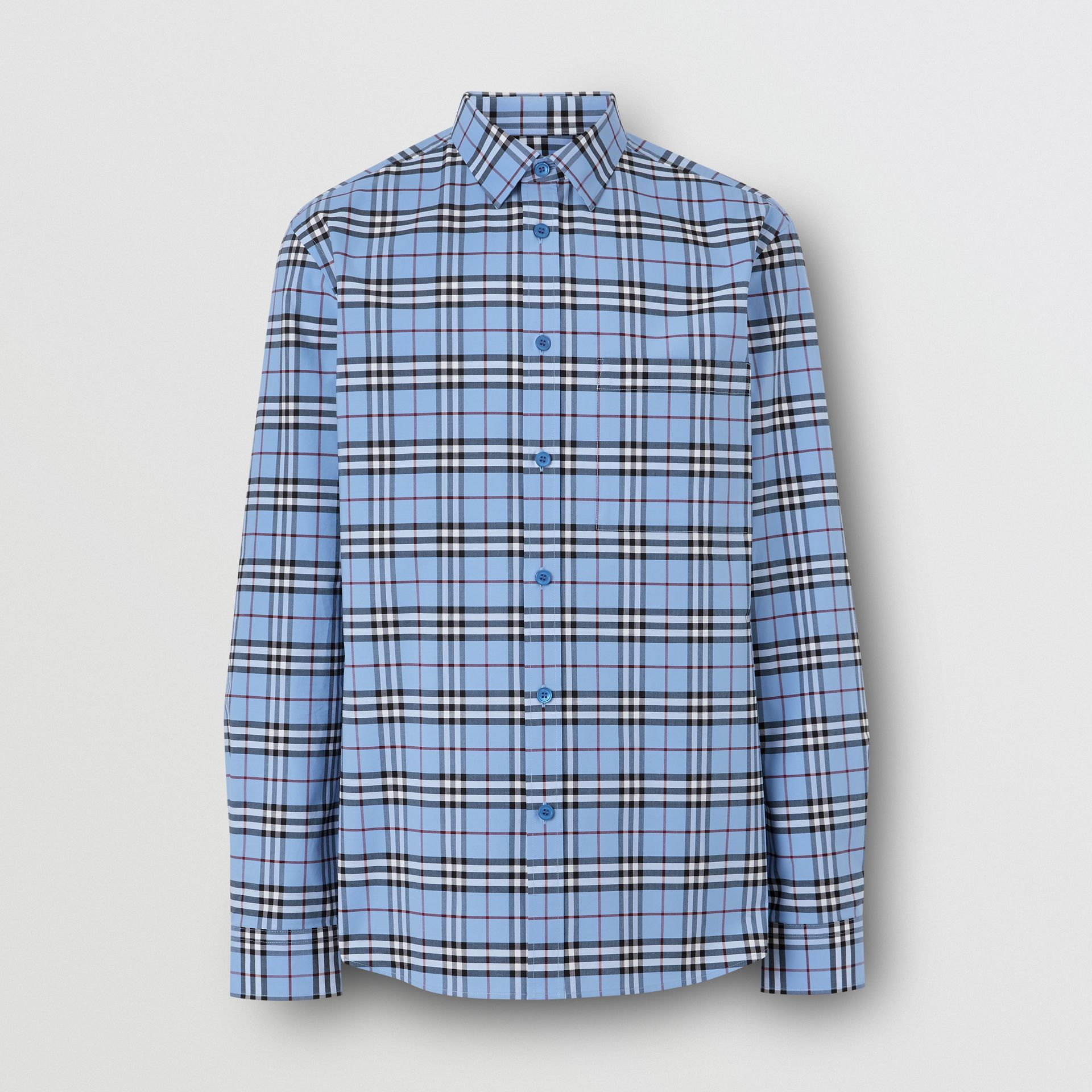 Vintage Check Stretch Cotton Poplin Shirt in Opal Blue - Men | Burberry - gallery image 3