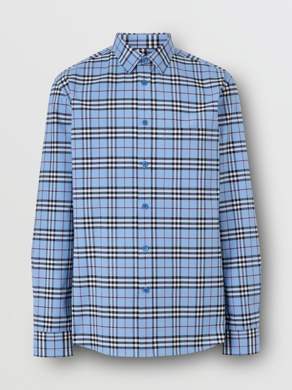 Vintage Check Stretch Cotton Poplin Shirt in Opal Blue - Men | Burberry - cell image 3