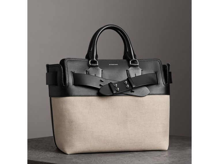 The Medium Canvas and Leather Belt Bag in Black/stone - Women | Burberry - cell image 4