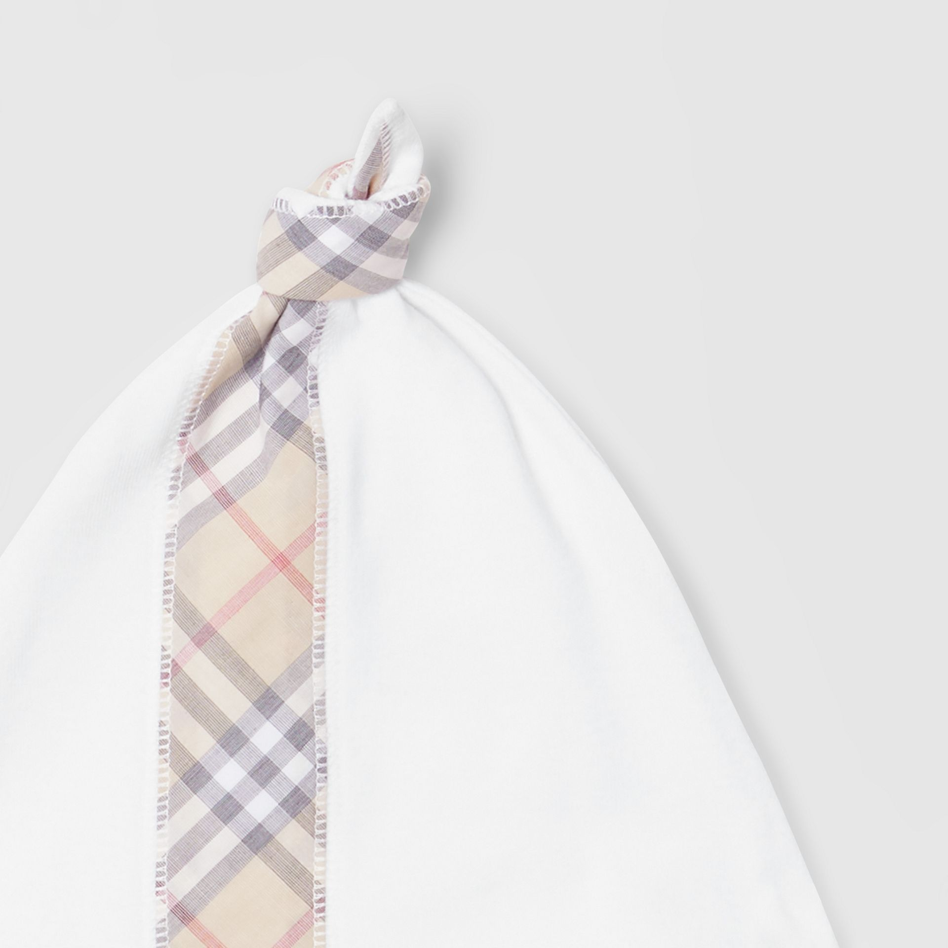 Check Detail Cotton Three-piece Baby Gift Set in White - Children | Burberry - gallery image 10