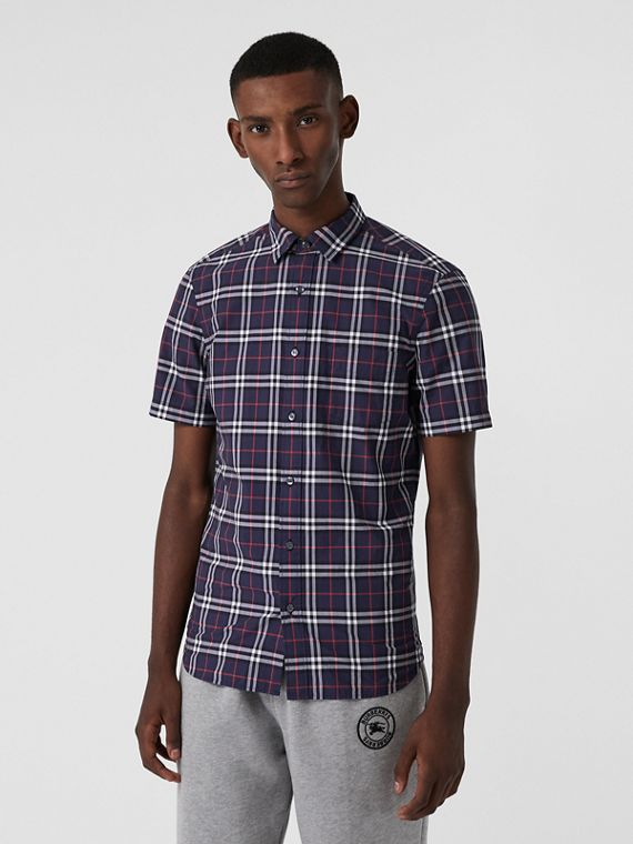 Short-sleeve Check Cotton Shirt in Navy