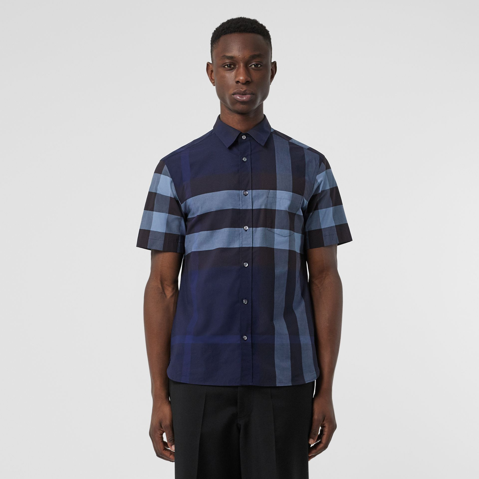 Short-sleeve Check Stretch Cotton Shirt in Bright Navy - Men | Burberry Australia - gallery image 0