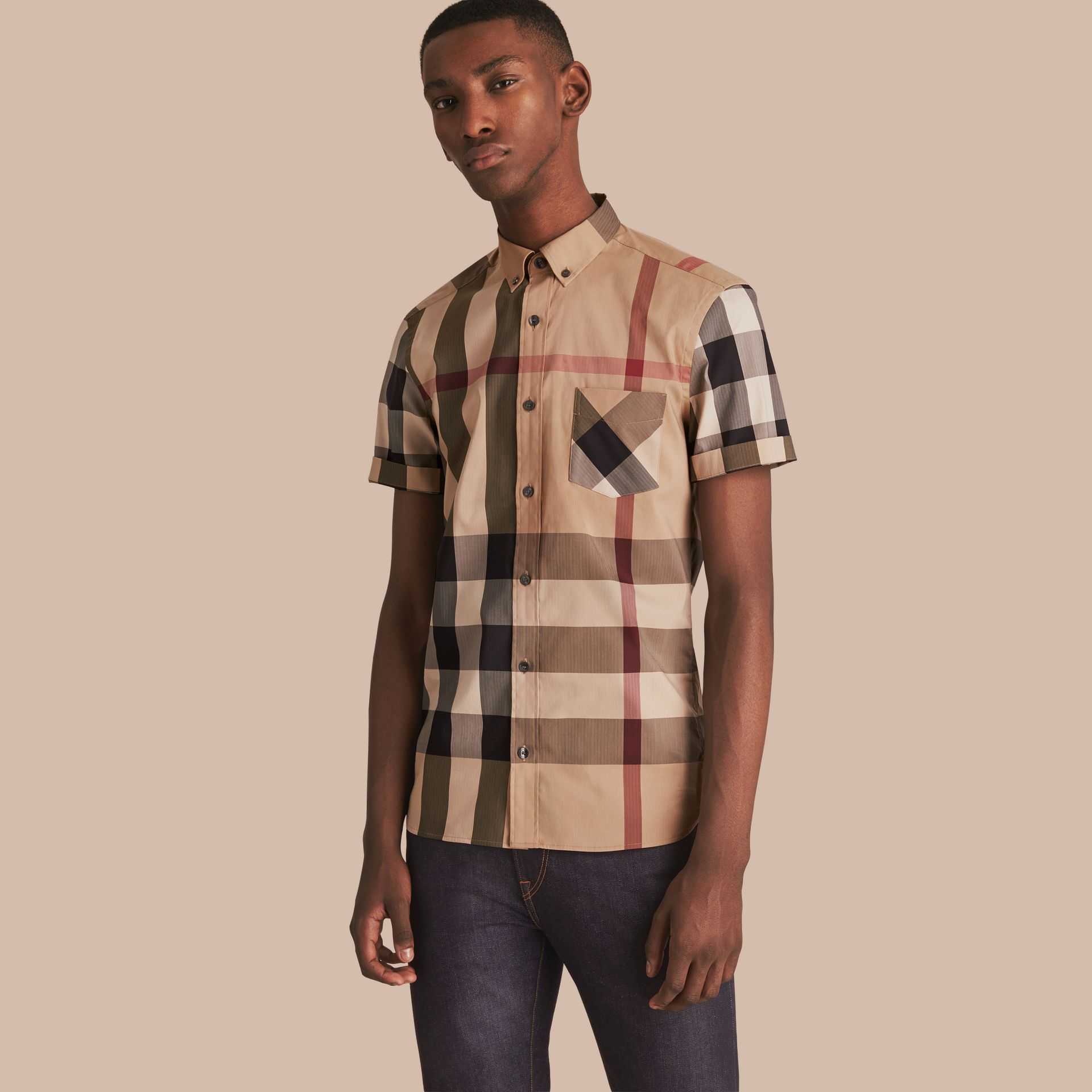 Short-sleeved Check Stretch Cotton Blend Shirt Camel - gallery image 1