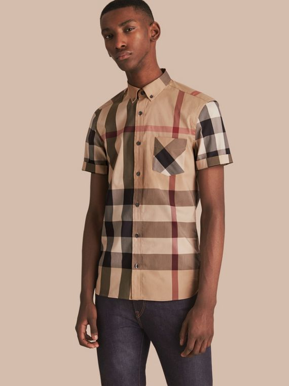 Short-sleeved Check Stretch Cotton Blend Shirt Camel