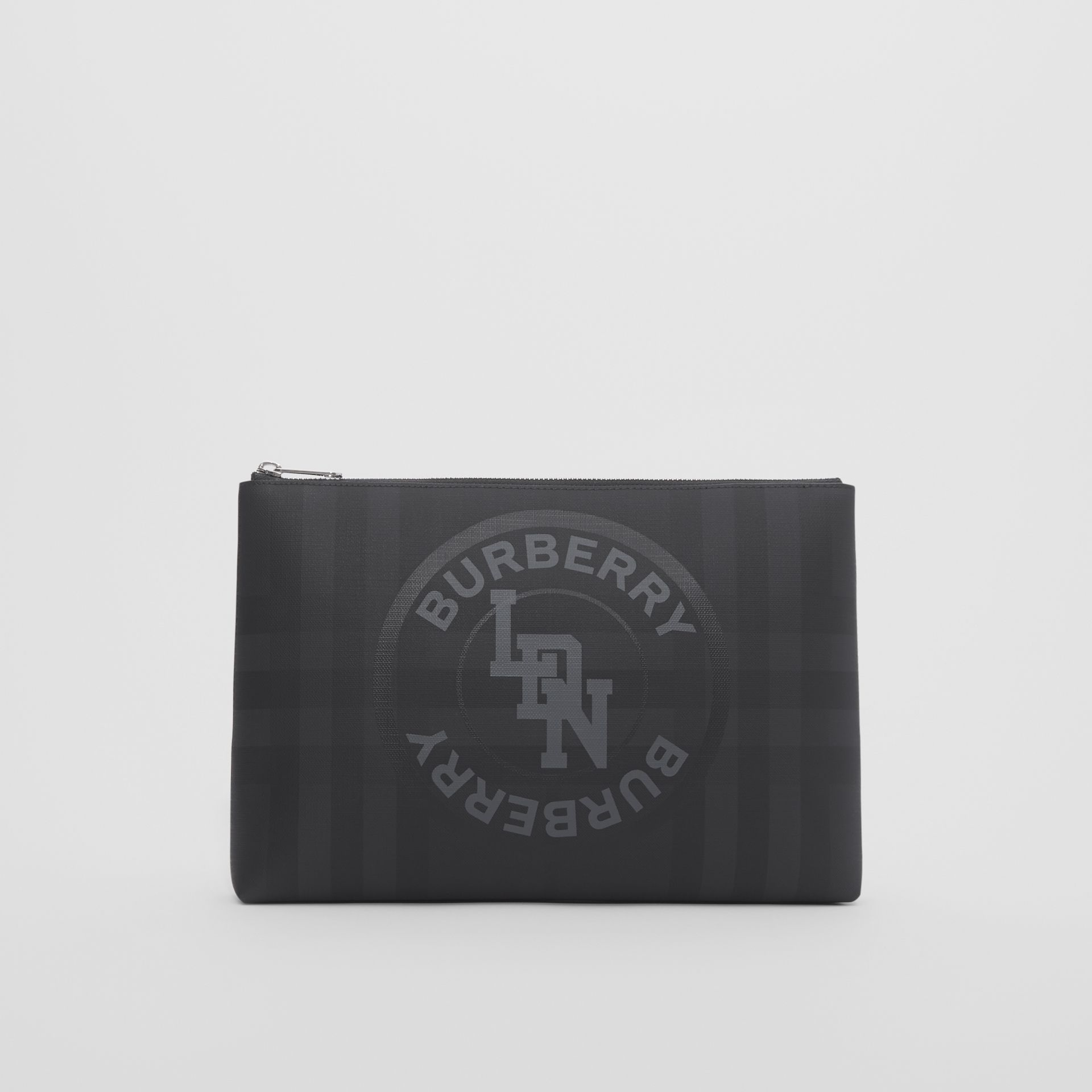 Logo Graphic London Check Zip Pouch in Dark Charcoal - Men | Burberry Hong Kong S.A.R - gallery image 0