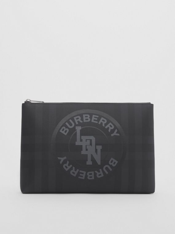 Logo Graphic London Check Zip Pouch in Dark Charcoal