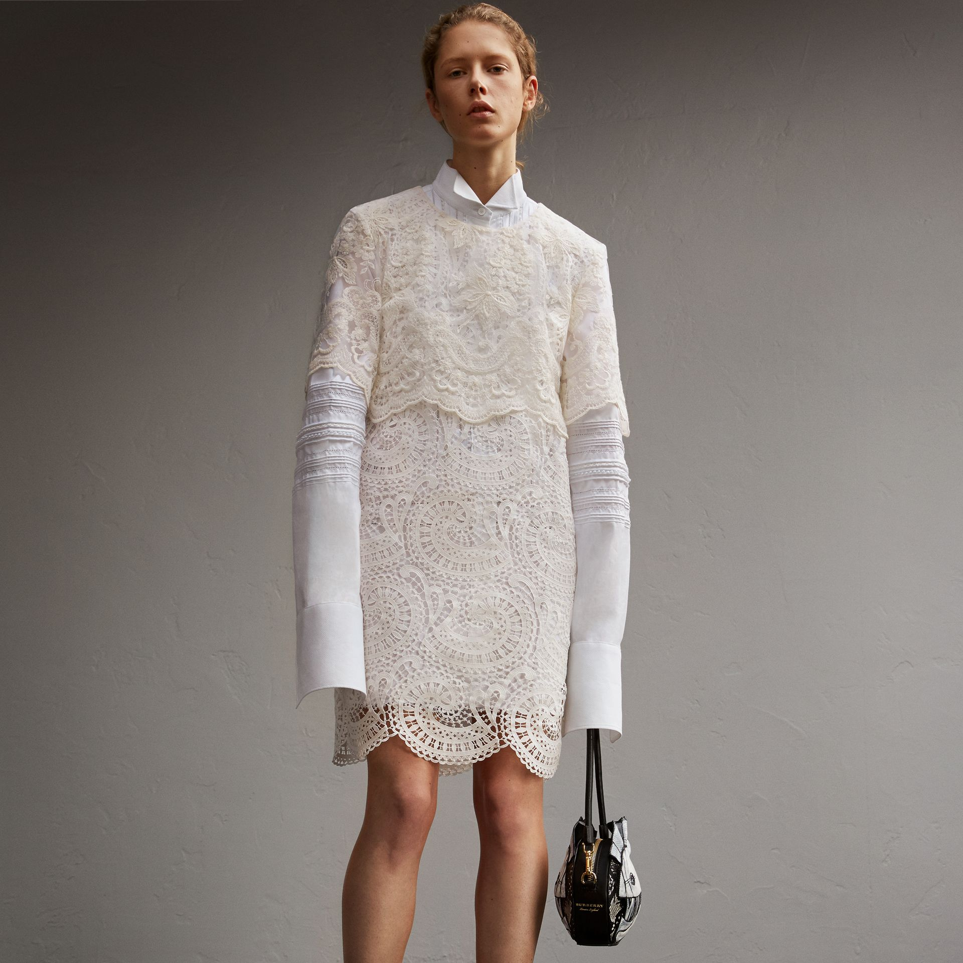 Layered Macramé Lace Shift Dress - gallery image 1