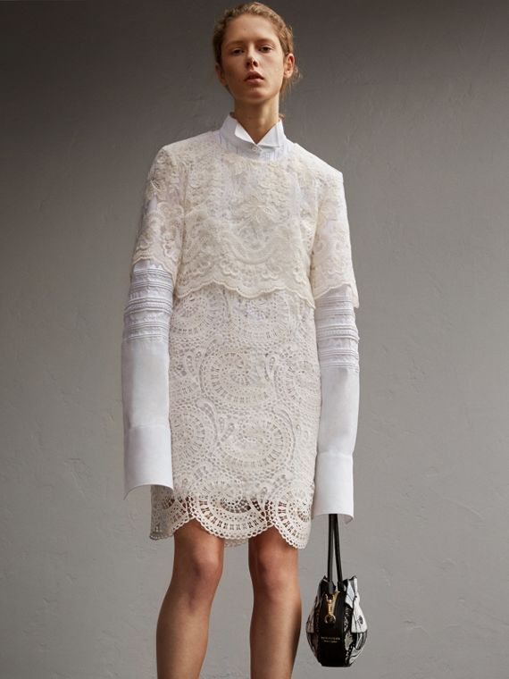 Layered Macramé Lace Shift Dress - Women | Burberry