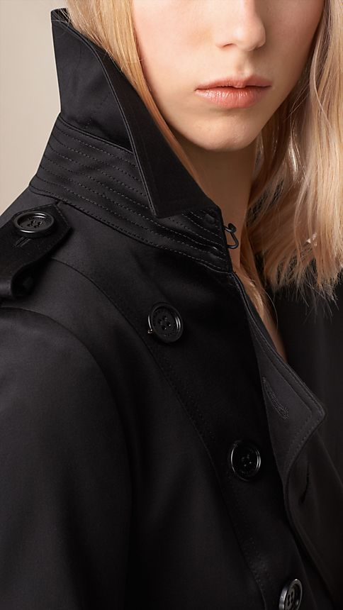 Black Cotton Sateen Trench Coat Black - Image 4